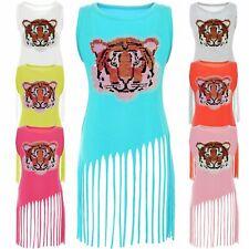 Las chicas inflexión lentejuelas Long t-shirt niños vestido blusa Sweat camisa mini 21368