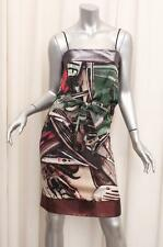 JEAN PAUL GAULTIER FEMME Womens Green+Bronze Silk Printed Shift Dress 40/2 NEW