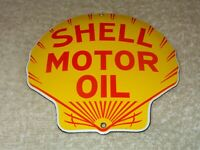 "VINTAGE ""SHELL MOTOR OIL"" DIE-CUT SEASHELL 5"" X 5"" PORCELAIN METAL GASOLINE SIGN"