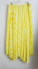Soft Surroundings Skirt Long Maxi Pleated Uneven Hem Yellow White Size XL #25559