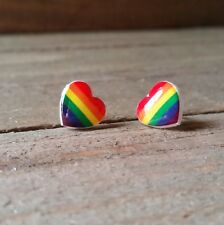 Rainbow Hearts Gay Pride Stud Earrings. 100 % Plastic for Sensitive Ears.