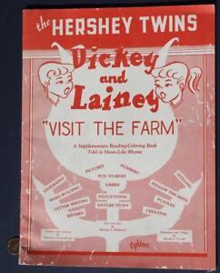 1955 Hershey Park Pennsylvania Hershey Twins Visit the farm coloring book-CUTE!