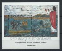"""Togo Bloc N°259** (MNH) 1987 - Pâques """"Fresques de l'église de Nadoba"""""""