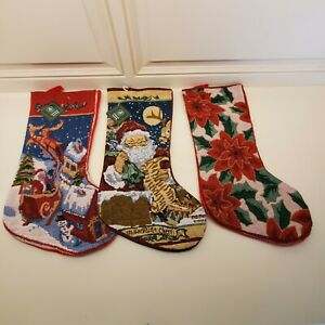 Santas Pro Creation Tapestry Christmas Stocking Poinsettias - Santa Claus U Pick