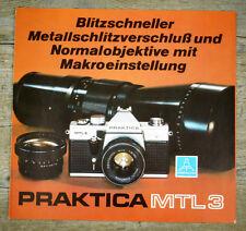 PENTACON Prospekt PRAKTICA MTL3 MTL 3 Broschüre Kamera Objektive Reklame (X8010