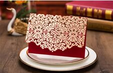 10pcs Red Wedding Invitation Cards With Envelopes Custom Personalized Print Seal