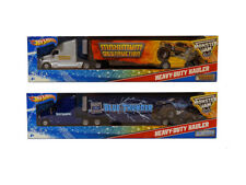 SET OF 2 ~ Hot Wheels Monster Jam Heavy Duty Hauler Semi Truck & Trailer