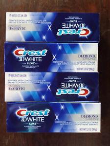 (4) boxes-Crest 3D White Luxe Diamond Strong Whitening,Brilliant Mint,3.5 oz