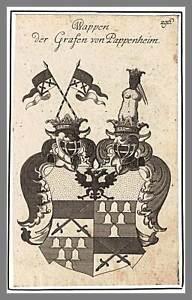 PAPPENHEIM - Wappen der Grafen Original-Kupferstich um 1660