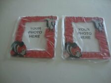 PEPE LE PEW & PENELOPE Red Magnetic Photo Frames Frig Magnets x 2 - NEW
