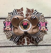 Handmade Animal Print / Leopard/Giraffe/Zebra Minnie Mouse Boutique Hair Bows