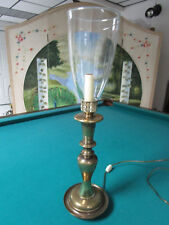"""TORCHIERE TABLE LAMP BRASS AND CRYSTAL 22"""" TALL TO TOP SHADE"""