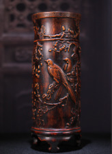 """10.8"""" Old china Bamboo carving Plum blossom Magpie Brush flower pot pencil vase"""