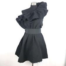 Lanvin H&M Black One Shoulder Ruffle Dress Side Zipper Womens 6 EXCELLENT