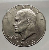 1974 President Eisenhower Apollo 11 Moon Landing Dollar USA Coin i46173