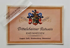Dittelsheimer Rotwein August Grill Weinhandlung Schorndorf Weinetikett Ephemera