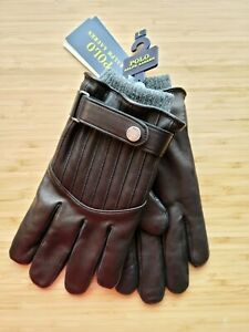 *NWT* Polo Ralph Lauren mens Leather Gloves touch screen finger tips Black L/XL
