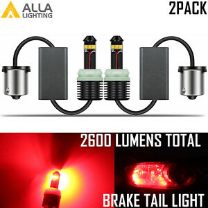 Alla Lighting Super Bright LED 1157 High Power 20W CANBUS Brake Light Bulb,Red