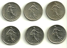 FRANCIA. LOTE DE 6 MONEDAS DE 1 FRANC (1960,1961,1969,1975,1976,1977)
