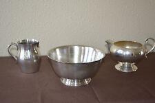 Vintage Trio of Silverplate- Pilgrim Creamer Bristol EPCA, Revereware repro bowl
