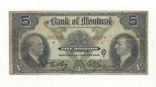 **1931**The Bank of Montreal $5 Note Ch# 505-58-02 SN# 203278