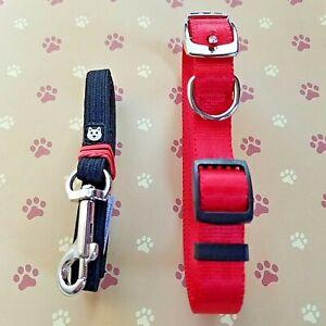 "Dog Cat Pet Collar and Leash 2 Piece Set Adjustable Size S 4""- 5"" Circumference"