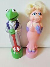 Muppets Kermit Miss Piggy 1988 Vintage Bubble Bath Bottles Set RARE