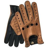 New prime top quality real soft leather men's driving gloves black tan stars 507