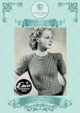 Vintage 1940s knitting pattern-how to make a ladies pretty lace stitch jumper