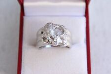 18K White Gold Studded and Suspended Happy Diamond Elephant Ring Sz8