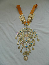 Egyptian Large Metal Half Moon Bellydancing Necklace Halal Gold Plated 10.25""