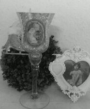 Portavelas Soporte de vela brocante Plata Cristal Ángel ROSAS 9x25cm Shabby Chic
