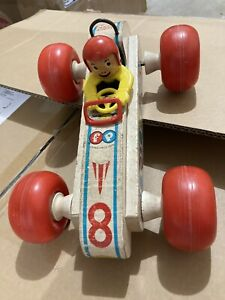 Vintage 1960s Fisher Price Bouncy Racer No. 8 Wooden Push Toy RED Helmet Rollbar