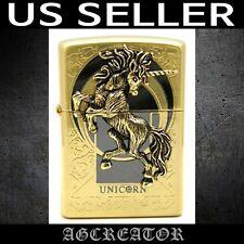 New Japan Korea zippo lighter unicorn gold plated engraved emblem US SELLER