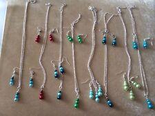Perle di vetro placcato Argento Collana e Orecchini Set un sacco di colore