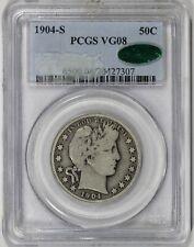 1904 S 50c Silver Barber Half dollar PCGS VG08 CAC