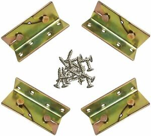 4 Set Bed Frame Rail Fitting Brackets Woodworking Connector Accessories Hardware