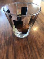 Vintage Mid-Century Modern Atomic Starburst Black & Gold Shot Glass - Barware