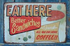 EAT HERE Sandwiches Coffee Retro Metal Tin Signs Ad Poster Fast Food Decor