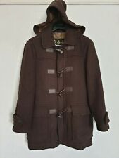Barbour Mens Duffle Coat Jacket Wool Tweed Dark Brown With Detachable Hood S / M
