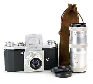 KW Kamera PRAKTICA Mod.1951/52 Objektiv ZEISS TESSAR 3.5/50 + TRIOTAR 1:4 f=135