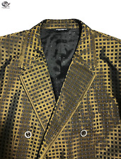 Dolce & Gabbana Dark Gold Three Piece Print Jacquard Silk Size 54 Men's Suit