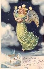Beautiful Woman, Angel, Mandolin, Music, Winter Night, Stars 1909