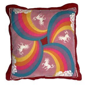 Vintage Unicorn Rainbow Pillow Clouds 20x20 Square Cushion Made In USA 70s 80s