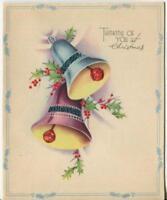VINTAGE CHRISTMAS BELLS RINGING RED HOLLY BERRIES LEAVES ART DECO GREETING CARD