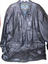 Vintage Women's Miropa Black Leather Long  Jacket Early 90's Size Large