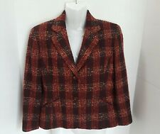 Petite Sophisticate Womens Plaid Blazer Jacket Check Plaid Size 2 Multicolored