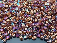 10g Czech SuperDuo Twin Beads Crystal Copper Rainbow