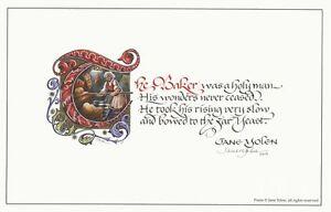 """Jane Yolen Signed Poetry Broadside: """"The Baker' - Beautiful Broadside"""