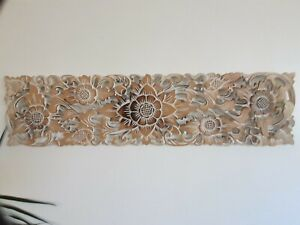 Brown / Natural wash Wood Carved Wall Art Sunflower Hanging Decor